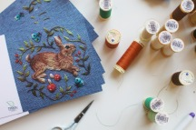 Chloe makes greeting cards using her embroidery creations.